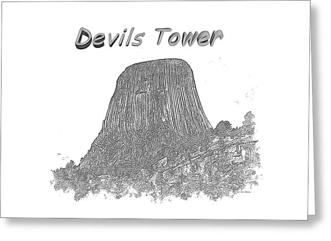 Monolith Greeting Cards - Devils Tower Greeting Card by John Bailey