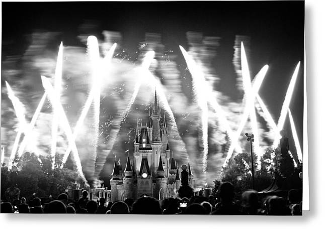 Flash Greeting Cards - Disney castle at night Greeting Card by Fizzy Image