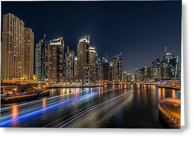 Nikon Greeting Cards - Dubai Marina Greeting Card by Vinaya Mohan