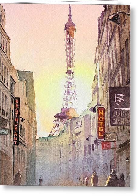 Eiffel Tower Paris France Greeting Card by Irina Sztukowski