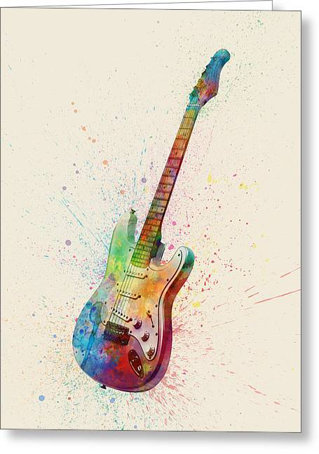 Electric Guitar Greeting Cards - Electric Guitar Abstract Watercolor Greeting Card by Michael Tompsett