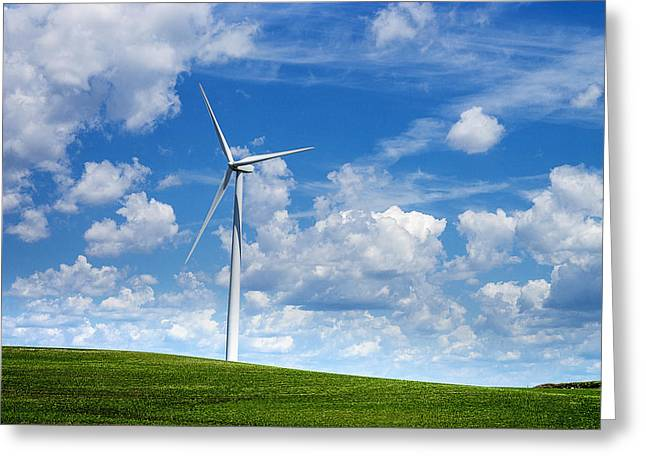 Generators Greeting Cards - Electric Wind Turbines Greeting Card by Donald  Erickson