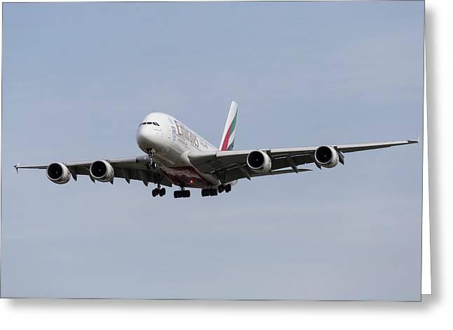 Emirates A380 Airbus Greeting Card by David Pyatt