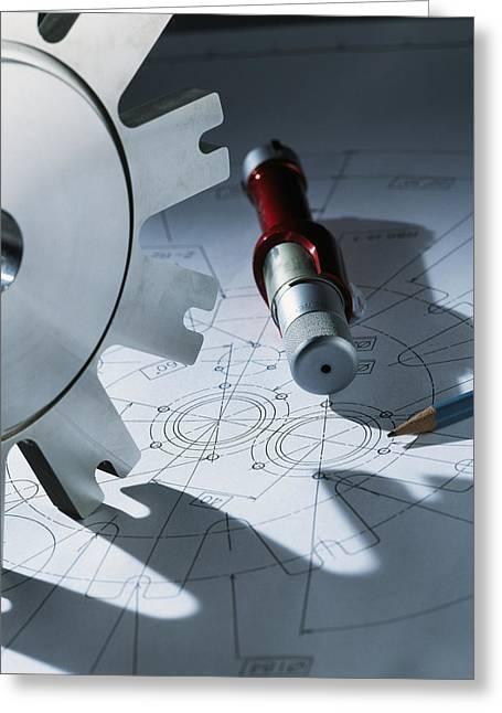 Cog Greeting Cards - Engineering Equipment Greeting Card by Tek Image