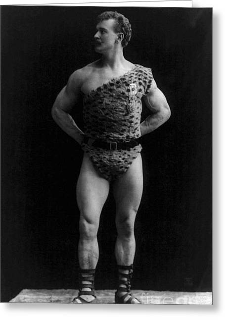 Leopard Skin Greeting Cards - Eugen Sandow, Father Of Modern Greeting Card by Science Source