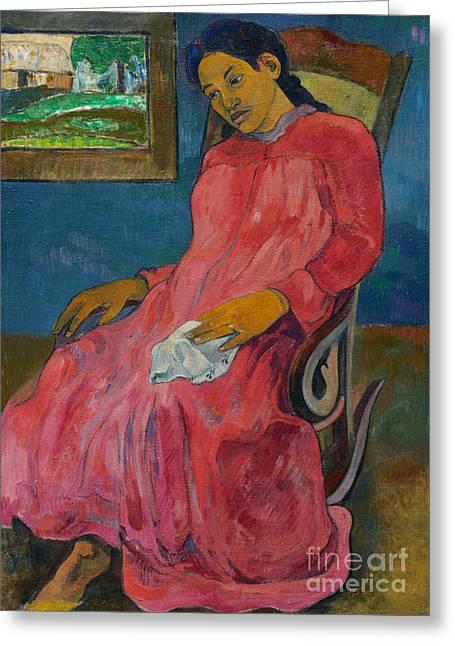 Faaturuma, Melancholic Greeting Card by Paul Gauguin