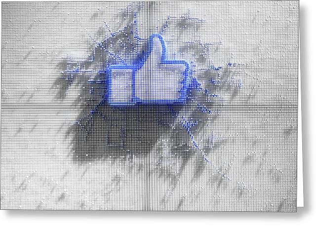 Facebook Like Logo In Pixels Greeting Card by Allan Swart