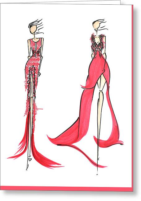 Pen And Ink Drawing Greeting Cards - Fashion Illustration Greeting Card by Anukriti Goswami
