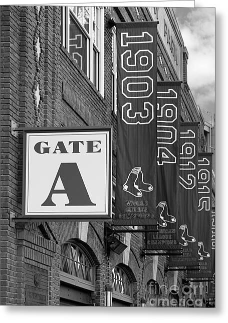 Tickets Boston Greeting Cards - Fenway Park Gate A bw Greeting Card by Jerry Fornarotto