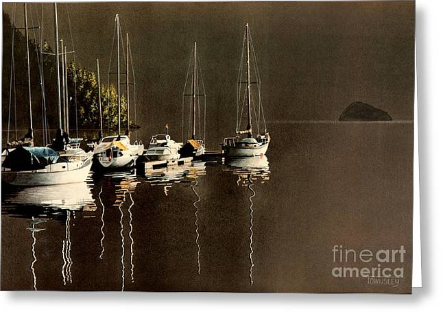 Docked Sailboats Greeting Cards - First light Greeting Card by Frank Townsley