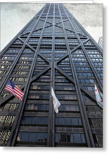 3 Flags Before Hancock Center - Chicago Greeting Card by Daniel Hagerman