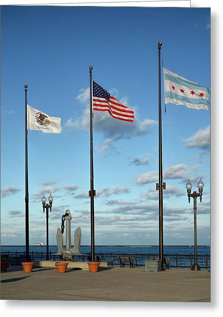 3 Flags Over Chicago Greeting Card by Daniel Hagerman
