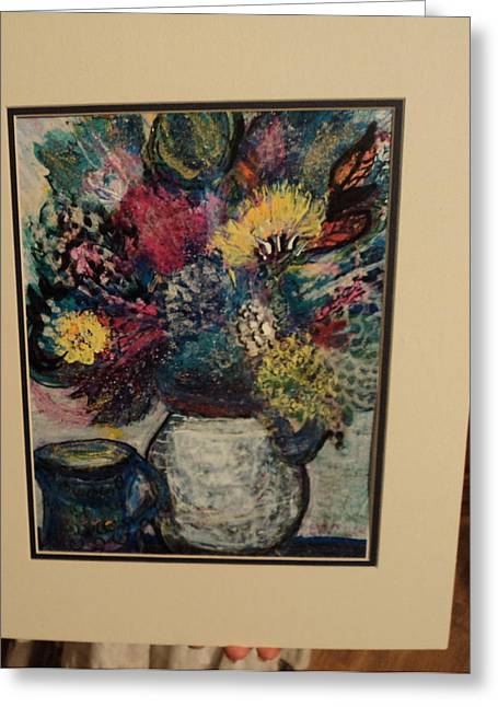 Floral Work In Progress Greeting Card by Anne-Elizabeth Whiteway