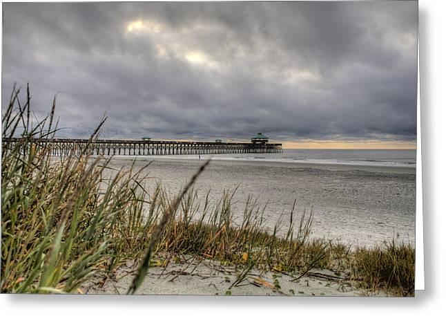 Folly Beach Pier  Greeting Card by Dustin K Ryan