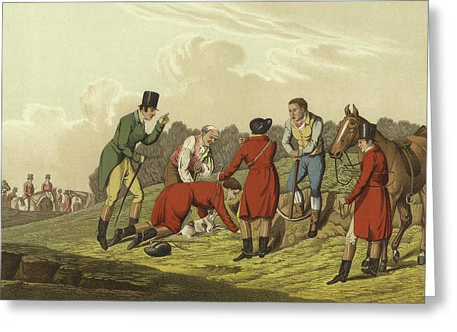 Fox Hunting Greeting Card by Henry Thomas Alken