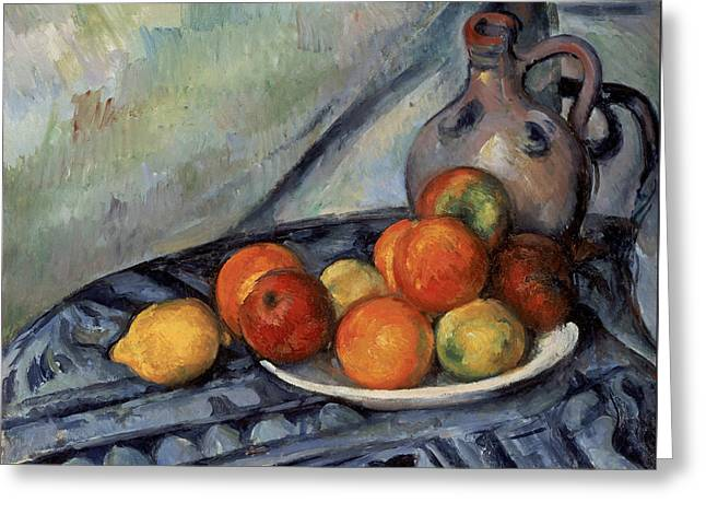 Water Jug Greeting Cards - Fruit And A Jug On A Table Greeting Card by Paul Cezanne