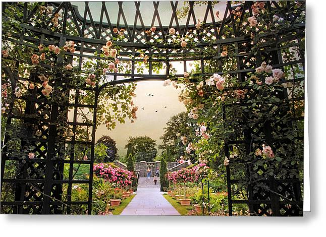 Trellis Greeting Cards - Garden Gazebo Greeting Card by Jessica Jenney
