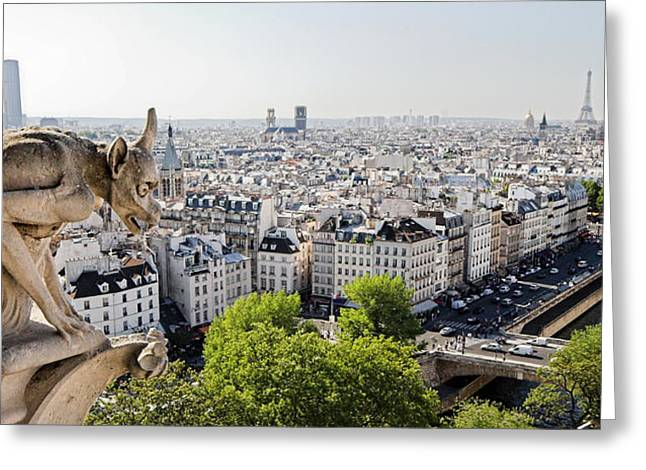 Bateau Greeting Cards - Gargoyle guarding the Notre Dame Basilica in Paris Greeting Card by Pierre Leclerc Photography
