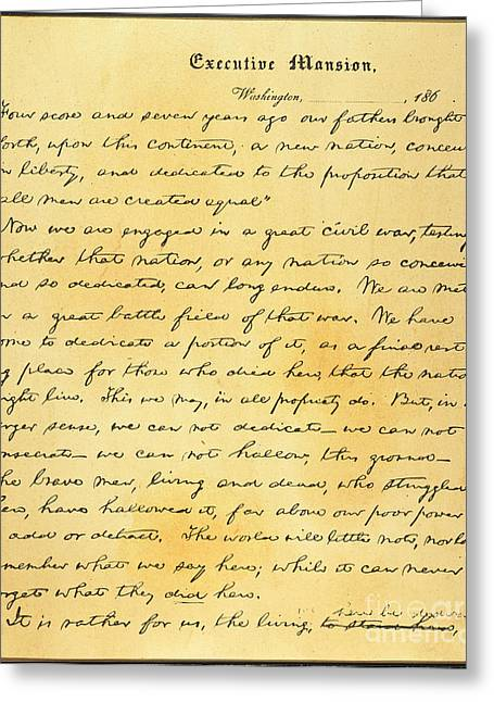 Gettysburg Address Greeting Cards - Gettysburg Address Greeting Card by Granger