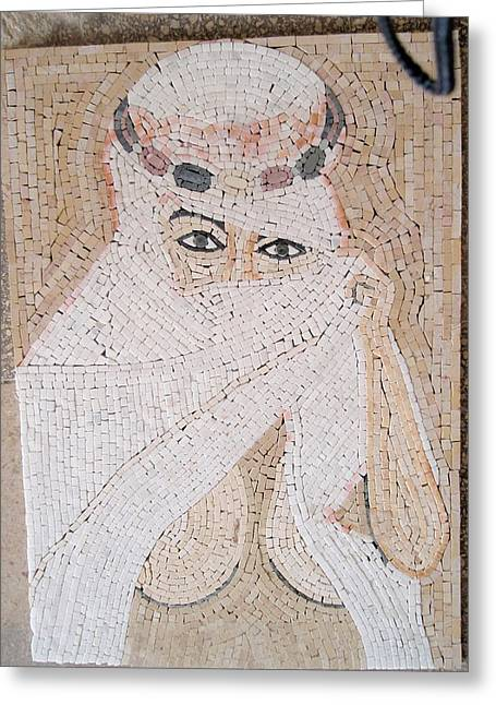 Mosaic Reliefs Greeting Cards - Girl In Stone Mosaic Greeting Card by Petrit Metohu