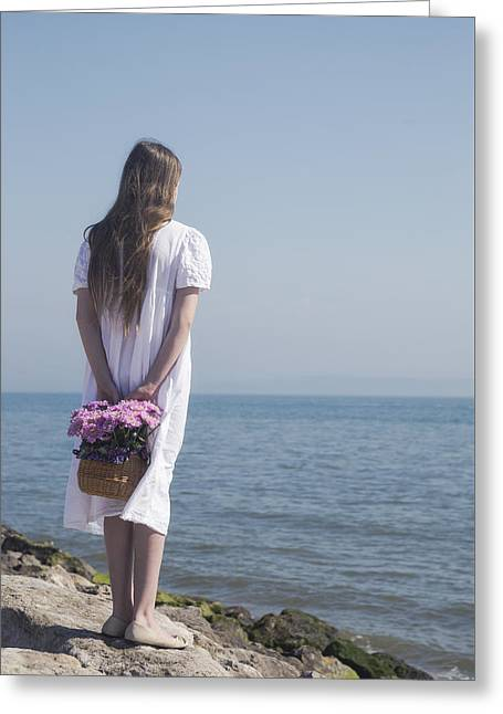 White Dress Greeting Cards - Girl With Flowers Greeting Card by Joana Kruse