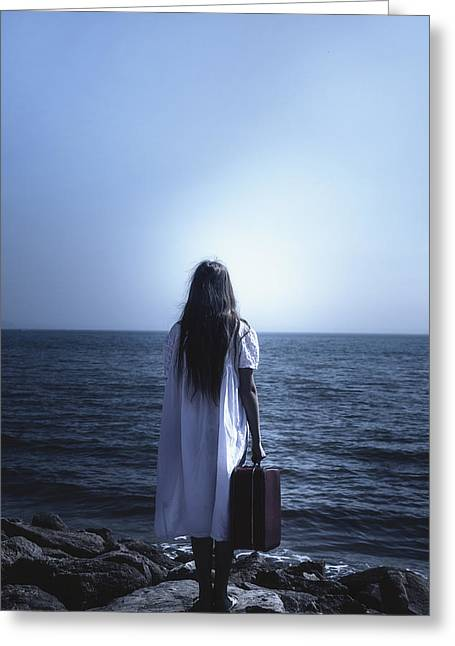 White Dress Greeting Cards - Girl With Suitcase Greeting Card by Joana Kruse