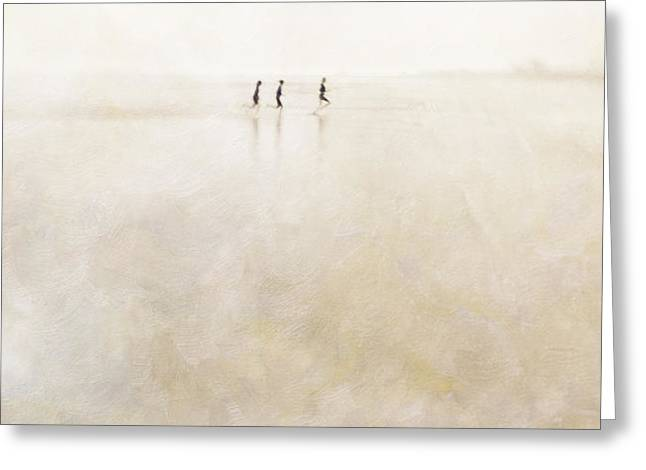 3 girls running Greeting Card by Paul Grand