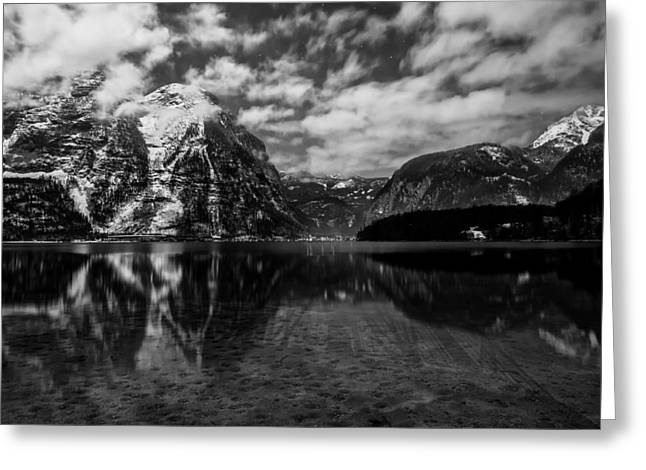 Snow And Night Sky Greeting Cards - Glow Of Hallstatt Austria Among The Mountains Greeting Card by Dongchan Park