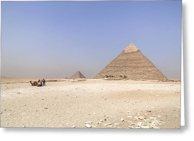 Camels Photographs Greeting Cards - Great Pyramids of Giza - Egypt Greeting Card by Joana Kruse