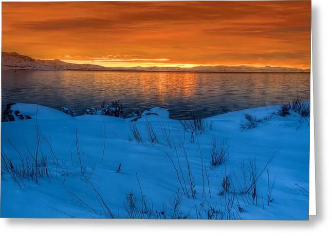 Snowy Evening Greeting Cards - Great Salt Lake Utah Greeting Card by Utah Images