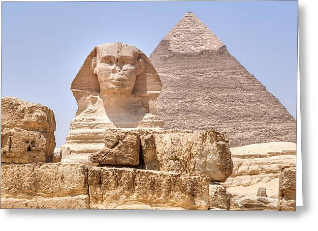 Camels Photographs Greeting Cards - Great Sphinx of Giza - Egypt Greeting Card by Joana Kruse