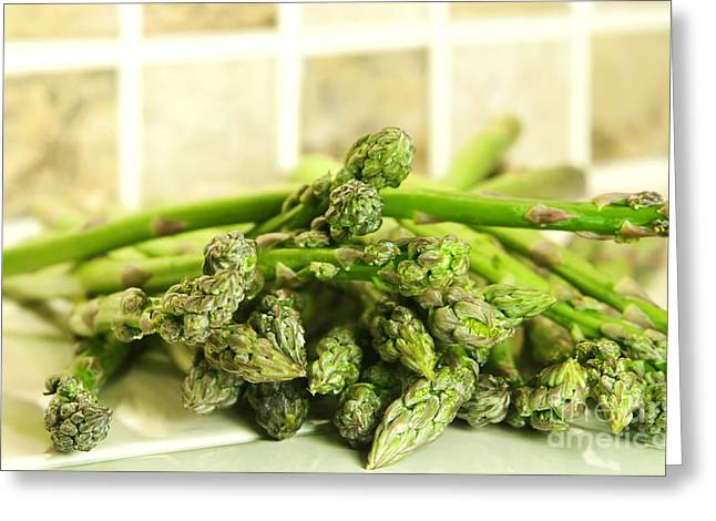 Recipes Greeting Cards - Green asparagus Greeting Card by Blink Images