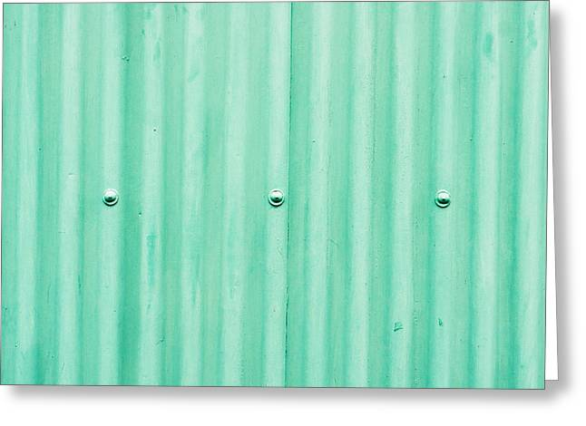 Industrial Background Greeting Cards - Green metal Greeting Card by Tom Gowanlock