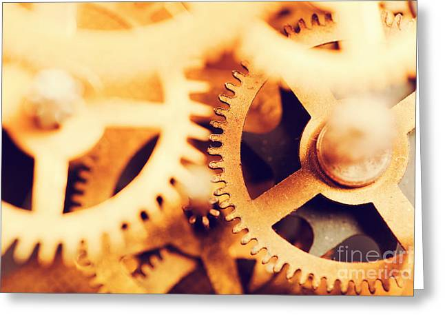 Mechanism Photographs Greeting Cards - Grunge gear cog wheels background Greeting Card by Michal Bednarek