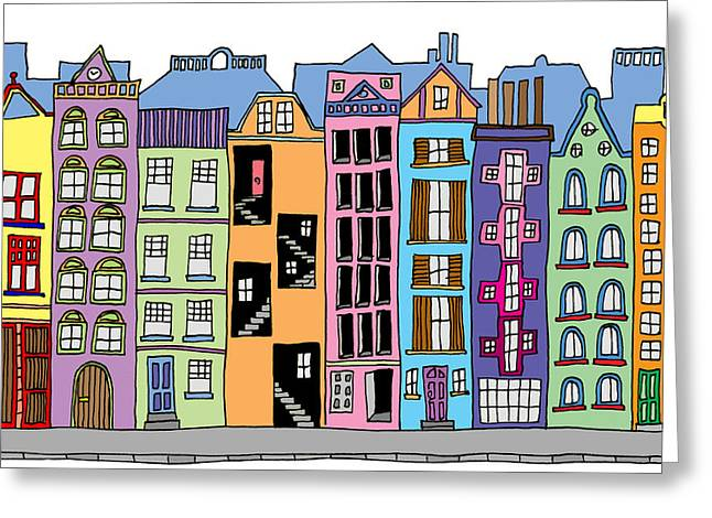 Hand Drawn Line Drawings Of Various Whimsical Houses Shops And B Greeting Card by Matthew Gibson