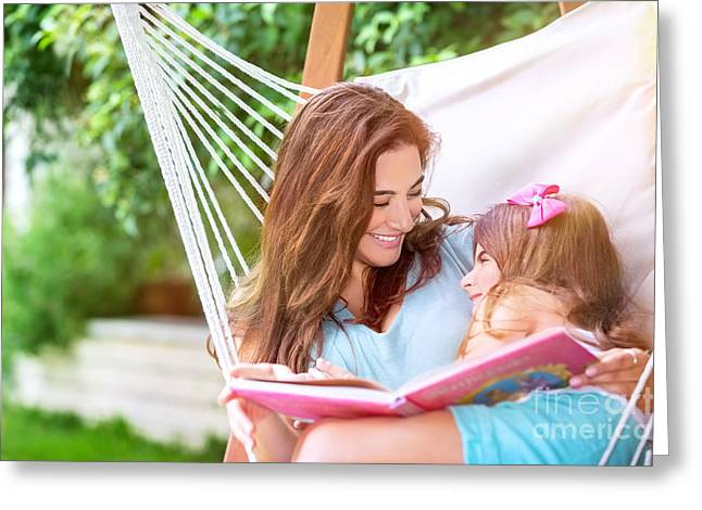 Person Greeting Cards - Happy mother with daughter Greeting Card by Anna Omelchenko