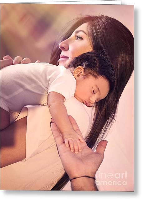 Caring Mother Greeting Cards - Happy parenthood concept Greeting Card by Anna Omelchenko