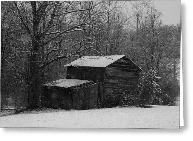 Sheds Greeting Cards - Hardscrabble Barn in the Snow Greeting Card by Kathryn Meyer