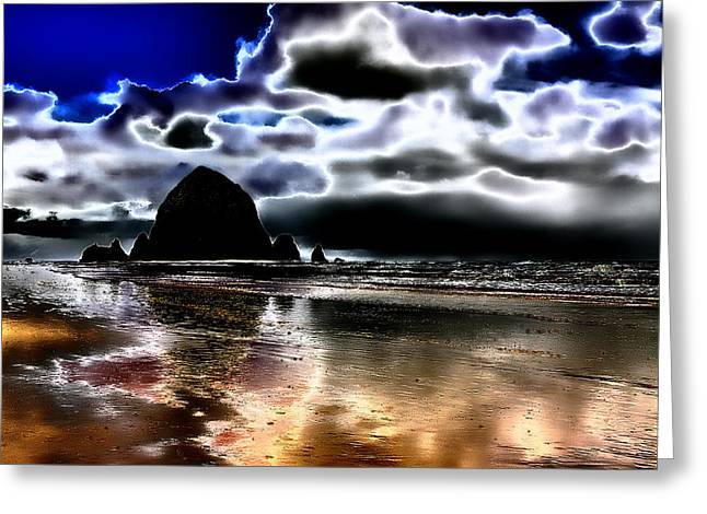 Seaside Digital Greeting Cards - Haystack Rock on Cannon Beach Greeting Card by David Patterson