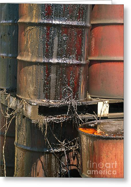 Rusty Oil Drum Greeting Cards - Hazardous Material Greeting Card by Inga Spence