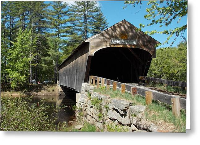 Rural Maine Roads Greeting Cards - Hemlock Covered Bridge Greeting Card by Catherine Gagne