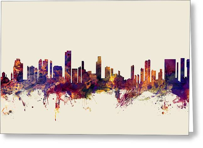 Honolulu Hawaii Skyline Greeting Card by Michael Tompsett