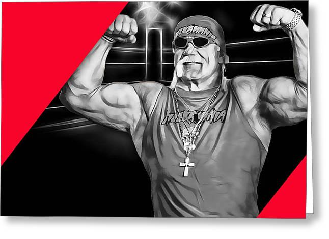 Cool Greeting Cards - Hulk Hogan Wrestling Collection Greeting Card by Marvin Blaine