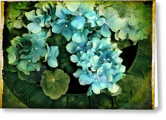 Border Digital Greeting Cards - Hydrangea Greeting Card by Jessica Jenney