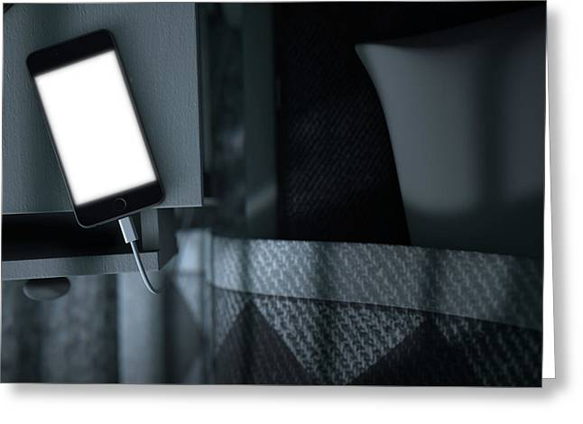 Illuminated Cellphone Next To Bed Greeting Card by Allan Swart