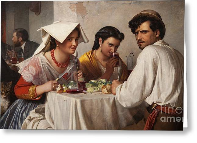 In A Roman Osteria Greeting Card by Carl Bloch