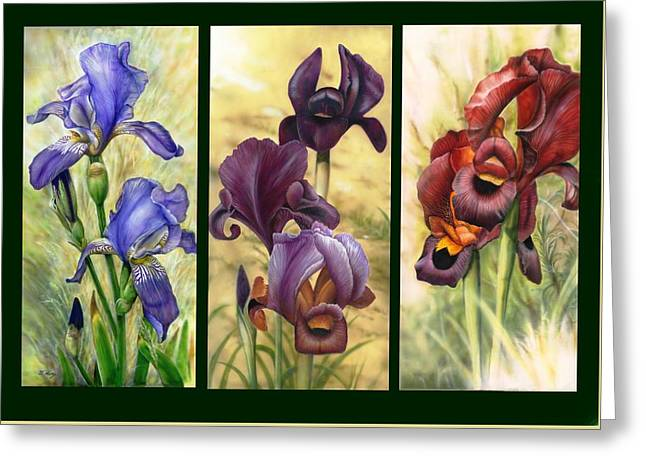 Jordan Mixed Media Greeting Cards - 3 Irises Greeting Card by Tuvia Kurz
