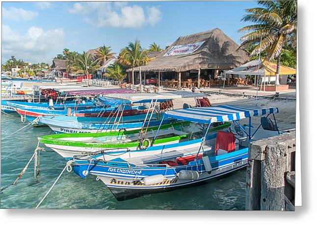 Boats At Dock Greeting Cards - Isla Mujeres Boats Greeting Card by Carol Ailles