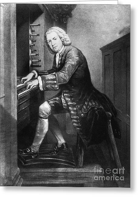 Sacred Artwork Greeting Cards - Johann Sebastian Bach, German Baroque Greeting Card by Photo Researchers