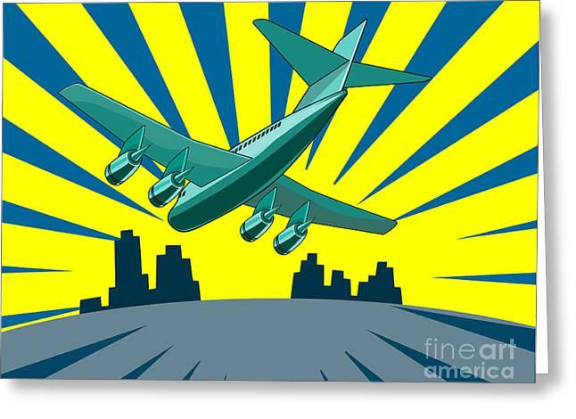 Jet Artwork Greeting Cards - Jumbo Jet Plane Retro Greeting Card by Aloysius Patrimonio